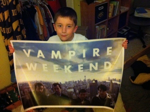 boy with vampire weekend poster